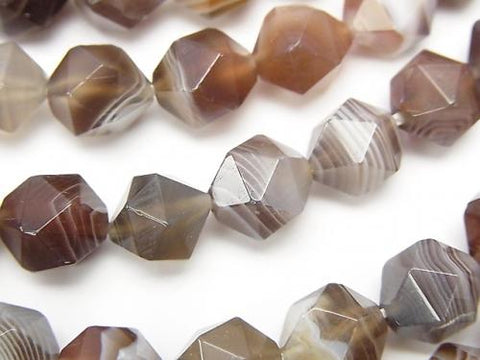 Botswana Agate  24Faceted Round 10mm half or 1strand (aprx.15inch/36cm)