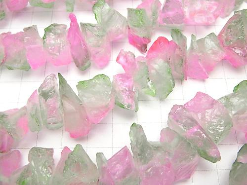 1strand $11.79! Crystal Rough Rock Nugget Metallic Coating Pink & Green 1strand (aprx.15inch / 36cm)