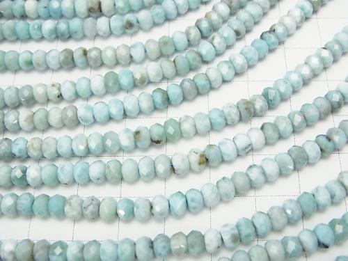 Diamond Cut!  Larimar Pectolite AA Faceted Button Roundel 5x5x3 half or 1strand (aprx.15inch/38cm)