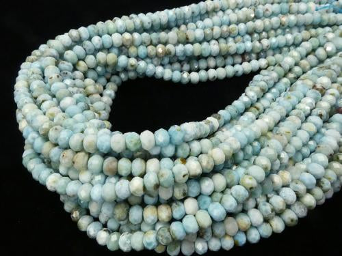 Diamond Cut! Larimar Pectolite AA 'Faceted Button Roundel 7 x 7 x 4 half or 1 strand (aprx.15 inch / 38 cm)