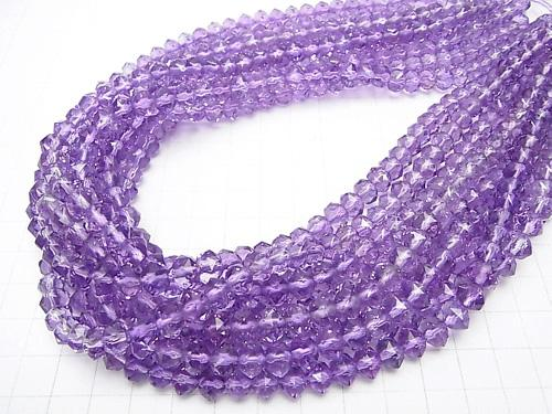 Diamond Cut! Rose Amethyst AAA Star Faceted Button Roundel 8 x 8 x 6 mm 1/4 or 1strand (aprx.15 inch / 38 cm)