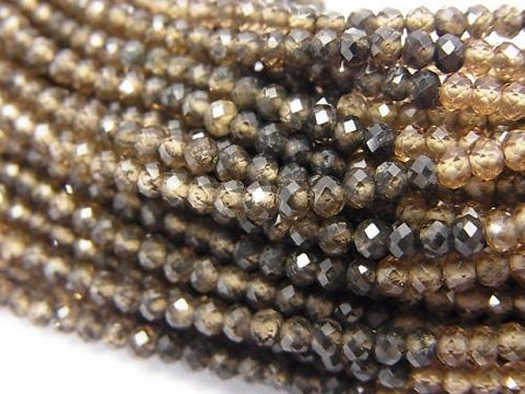 High Quality Natural Zircon AAA Faceted Button Roundel Brown half or 1strand (aprx.12 inch / 30 cm)