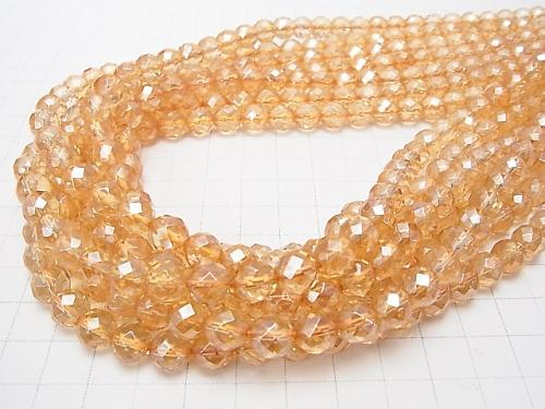 Golden Aura Crystal Quartz  64Faceted Round 8mm half or 1strand (aprx.16inch/39cm)