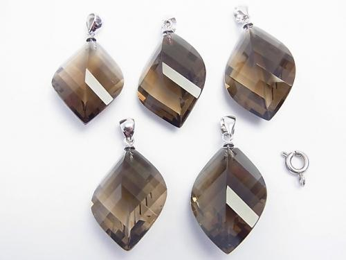 High Quality Smoky Crystal Quartz AAA Multiple Facets included Pendant [S] [M] Silver 925