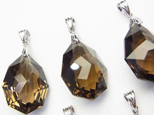 High Quality Smoky Crystal Quartz Including AAA Multiple Facets Pendant NO.2 [S] [M] Silver 925
