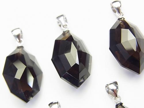 High Quality Smoky Crystal Quartz Pendant with AAA Multiple Facets 20 x 14 x 11 mm Silver 925