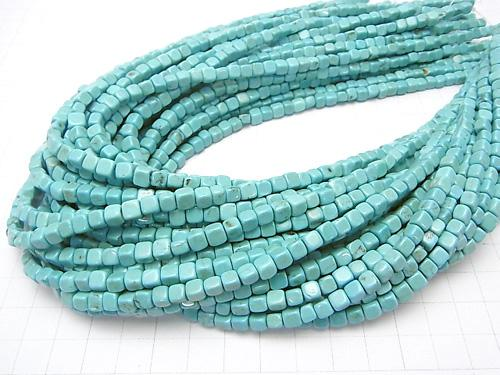 1strand $4.79! Magnesite Turquoise  Cube 4x4x4mm 1strand (aprx.15inch/38cm)