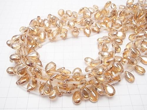 Orange flash crystal Pear shape (Smooth) 12 x 8 x 5 1/4 or 1strand (aprx.15inch/38cm)