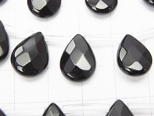 Onyx  Faceted Pear Shape 14x10x5mm half or 1strand (aprx.15inch/36cm)