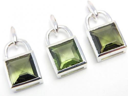 High Quality Moldavite AAA Faceted Square padlock motif Pendant 16 x 10 x 6 mm Silver 925