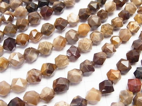 Petrified Wood Opalite  24Faceted Round 8mm half or 1strand (aprx.15inch/37cm)
