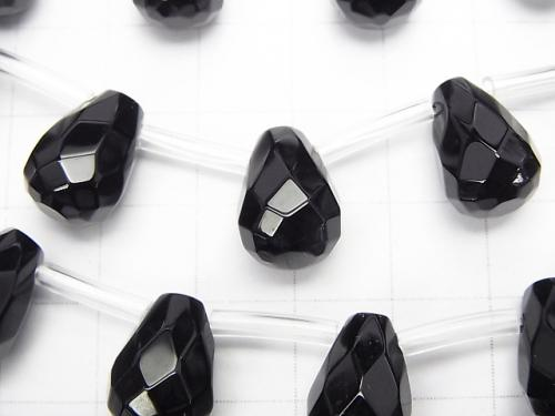 Onyx  Drop  Faceted Briolette 13x10x10mm half or 1strand (aprx.19inch/46cm)