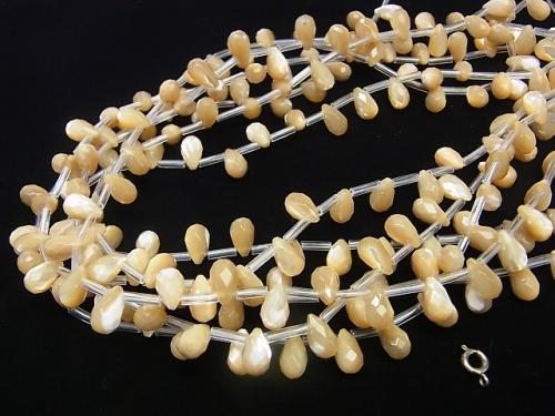 Mother of Pearl MOP Faceted Drop 10 x 6 x 6 mm beige half or 1 strand (aprx.15 inch / 38 cm)