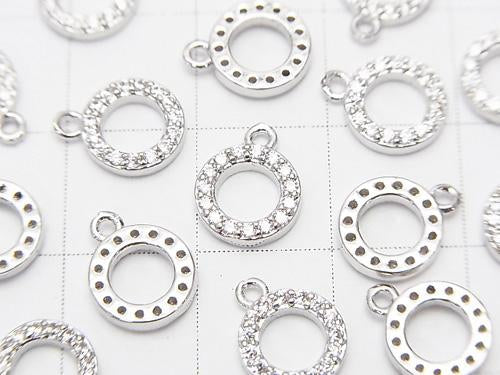 Metal Parts CZ Charm Circle 9 x 8 mm Silver Color 3 pcs $3.79!