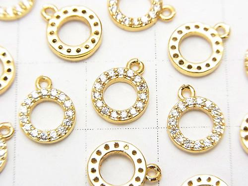 Charm circle with Metal Parts CZ 9 x 8 mm gold color 3 pcs $3.79!