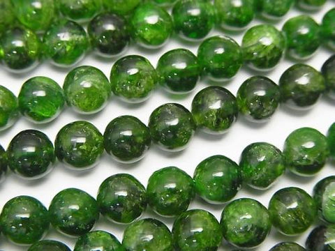 Russian Chrome Diopside AA Round 6 mm half or 1 strand (aprx.15 inch / 38 cm)