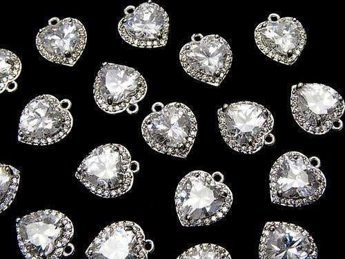 Metal Parts CZ Charm Heart 11 x 9 x 4 mm Silver Color 2 pcs $2.99!