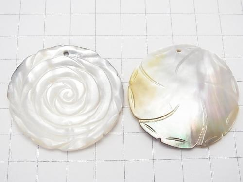 High Quality White Shell AAA Rose 40mm 1pc $4.79