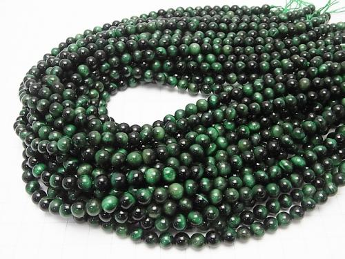 1strand $5.79! Green color Tiger Eye AA ++ Round 6mm 1strand (aprx.15inch / 38cm)