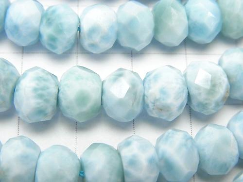 Diamond Cut!  Larimar Pectolite AAA- Faceted Button Roundel 9x9x6 1/4 or 1strand (aprx.15inch/38cm)