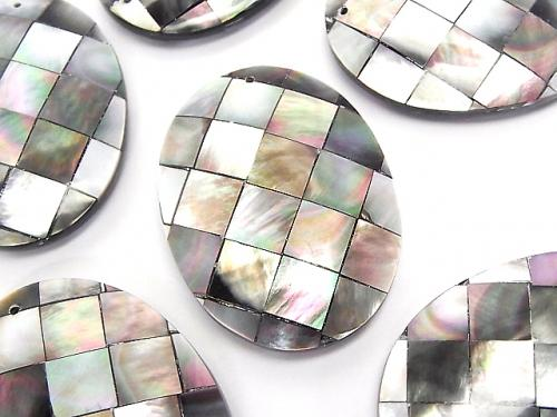Mosaic Shell Oval 40 x 30 x 8 mm Black 1 pc $3.79!