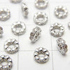 Metal Parts Roundel 4 x 4 x 1.5 (with CZ) Silver Color 5 pcs $3.79!
