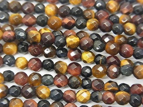 1strand $7.79! Tiger Eye AAA- 3 color mix 32Faceted Round 4mm 1strand (aprx.15inch / 37cm)