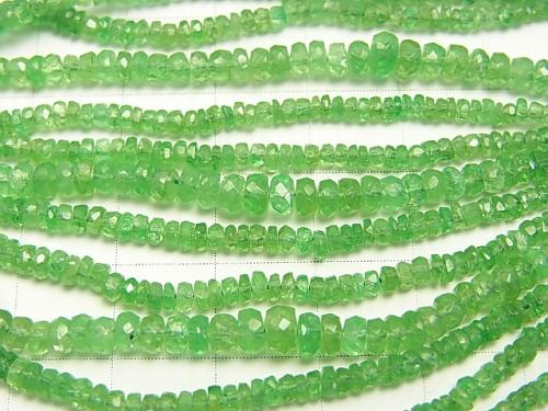 High Quality Tsavorite Garnet AAA Faceted Button Roundel  half or 1strand (aprx.17inch/42cm)
