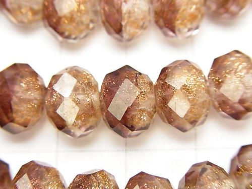 Lampwork Beads Faceted Button Roundel 10 x 10 x 7 mm [wine red] half or 1 strand (aprx.14 inch / 34 cm)