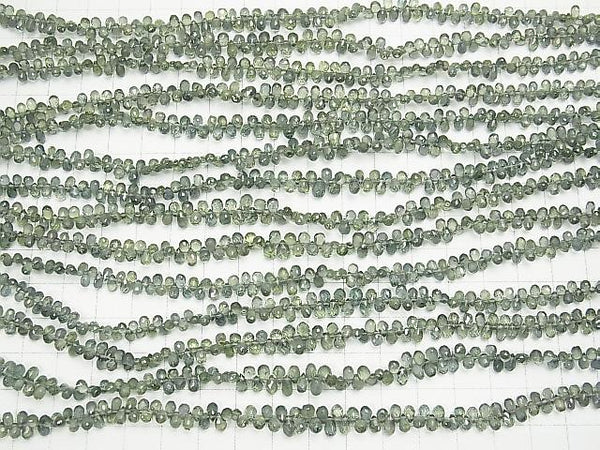 High Quality Green Sapphire AAA Drop Faceted Briolette 1/4 or strand (aprx.7inch / 18cm)
