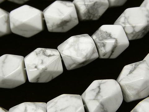1strand $8.79! Howlite Magnesite rectangle Faceted Tube 11x9x9 1strand (aprx.15inch / 38cm)