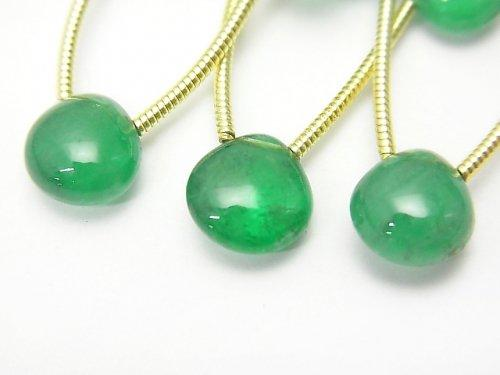 Zambia High Quality Emerald AAAAA Chestnut (Smooth) 1strand (3pcs).