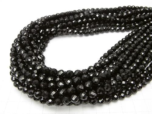 Diamond Cut! Black Tourmaline AA ++ - AA + 64 Faceted Round 6 mm half or 1 strand (aprx.15 inch / 38 cm)
