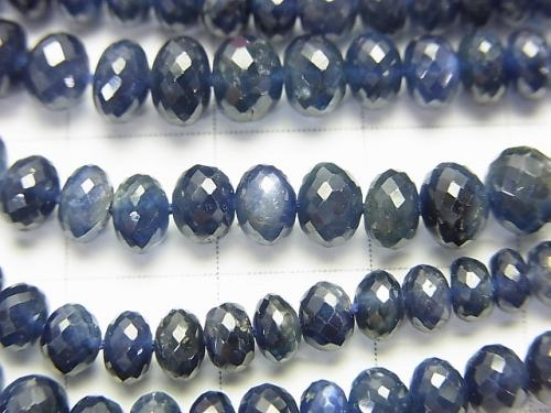 MicroCut!  High Quality Sapphire AAA Faceted Button Roundel  1/4 or 1strand (aprx.17inch/41cm)