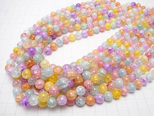 1strand $7.79! 7 color multi-color Cracked Crystal Round 8mm 1strand (aprx.15inch / 38cm)