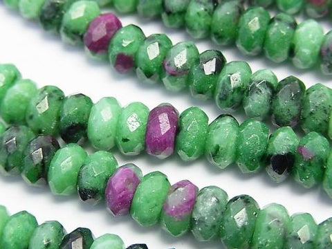 Ruby in Zoisite Faceted Button Roundel 8 x 8 x 4 half or 1 strand (aprx.15 inch / 38 cm)