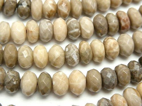 Fossil Coral  Faceted Button Roundel 8x8x5mm half or 1strand (aprx.15inch/38cm)