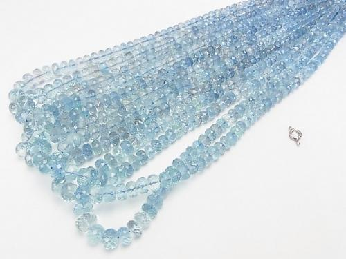 High Quality Aquamarine AAA Faceted Button Roundel  1strand (aprx.16inch/40cm)