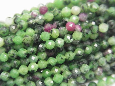 1strand $8.79! Diamond Cut! Ruby in Zoisite Faceted Round 3mm 1strand (aprx.15inch / 37cm)