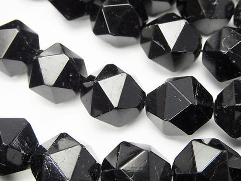 Black Tourmaline AA + 24 Faceted Round 16 mm half or 1 strand (aprx.15 inch / 37 cm)