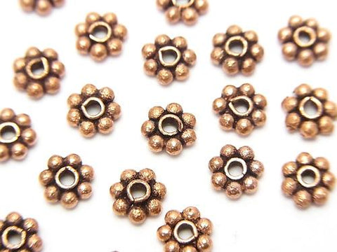 Copper Roundel Daisy [4 mm] [5 mm] [6 mm] Oxidized Finish 1 strand (aprx.7 inch / 18 cm)