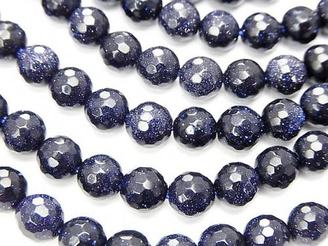 1strand $5.79! Blue Golden Sand Stone  128Faceted Round 6mm 1strand (aprx.15inch/37cm)