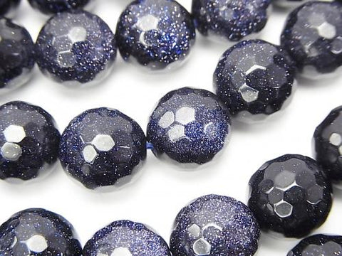 1strand $9.79! Blue Golden Sand Stone  128Faceted Round 12mm 1strand (aprx.15inch/37cm)