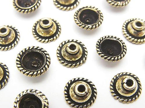Copper bead cap 8 x 8 x 4 mm antique Finish Oxidized Finish half or 1 strand (aprx.7 inch / 18 cm)