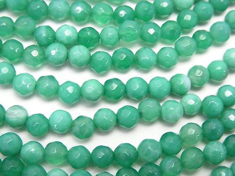 1strand $9.79! Green Fire Agate 32Faceted Round 4mm 1strand (aprx.15inch / 38cm)