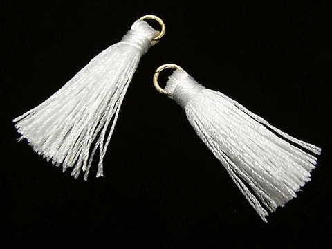10pcs $2.39! Tassel Charm with Ring [S size] White 10pcs