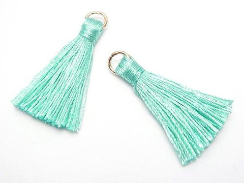 10pcs $2.39! Tassel Charm with Ring [S size] Mint Green 10pcs