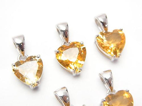High Quality Citrine AAA Heart Faceted Pendant 8x8x5mm Silver925