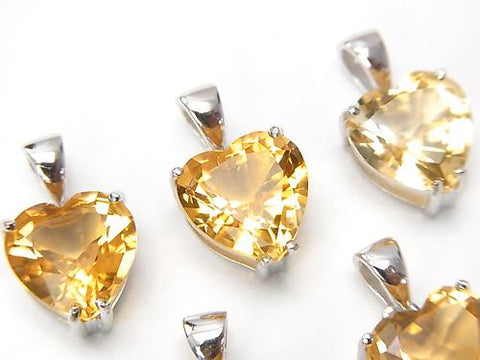 High Quality Citrine AAA Heart Faceted Pendant 10x10x7mm Silver925