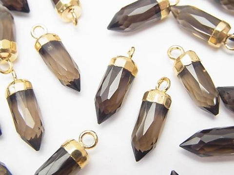2pcs $7.79! Smoky Crystal Quartz AAA Faceted Point Charm Gold Color 2pcs